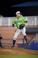 Lynchburg Hillcats relief pitcher Justin Garcia (11) delivers a pitch during a game against the Salem Red Sox on May 10, 2018 at Haley Toyota Field in Salem, Virginia.  Lynchburg defeated Salem 11-5.  (Mike Janes/Four Seam Images)