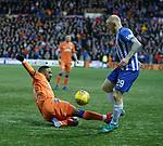 09.02.2019 Kilmarnock v Rangers: Jermain Defoe tackles Chris Burke