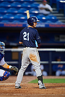 Charlotte Stone Crabs center fielder Jake Stone (21) at bat during the first game of a doubleheader against the St. Lucie Mets on April 24, 2018 at First Data Field in Port St. Lucie, Florida.  St. Lucie defeated Charlotte 5-3.  (Mike Janes/Four Seam Images)