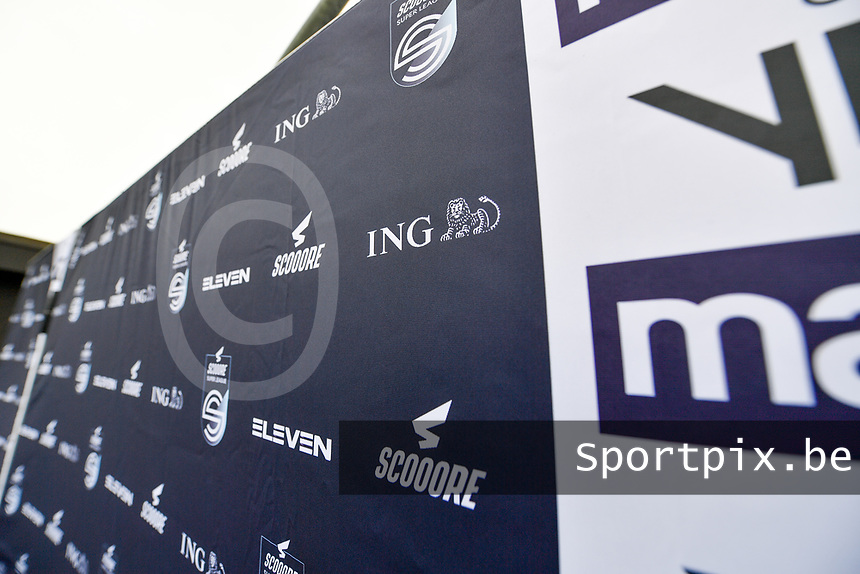 illustration picture showing the Scooore Super League banner with logos during a female soccer game between Club Brugge Dames YLA and Zulte Waregem Ladies on the third matchday of the 2020 - 2021 season of Belgian Scooore Womens Super League , saturday 3 October 2020  in Brugge , Belgium . PHOTO SPORTPIX.BE | SPP | DAVID CATRY