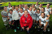 A Lions fan hops over for a selfie with the England team after during the 2017 International Women's Rugby Series rugby match between the NZ Black Ferns and England Roses at Rotorua International Stadium in Rotorua, New Zealand on Saturday, 17 June 2017. Photo: Dave Lintott / lintottphoto.co.nz