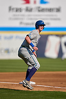 Hartford Yard Goats Michael Toglia (55) leads off third base during a game against the Somerset Patriots on September 11, 2021 at TD Bank Ballpark in Bridgewater, New Jersey.  (Mike Janes/Four Seam Images)
