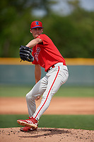 Philadelphia Phillies Tyler McKay (6) during a minor league Spring Training game against the Pittsburgh Pirates on March 13, 2019 at Pirate City in Bradenton, Florida.  (Mike Janes/Four Seam Images)