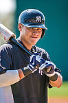 11 March 2014: New York Yankees catcher Jose Gil awaits his turn in the batting cage prior to a Spring Training game against the Washington Nationals at Space Coast Stadium in Viera, Florida. The Nationals defeated the Yankees 3-2 in Grapefruit League play. Mandatory Credit: Ed Wolfstein Photo *** RAW (NEF) Image File Available ***