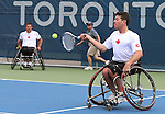 Toronto, Ontario, August 10, 2015. Joel Dembe and Philippe Bedard competes in the mens doubles wheelchair tennis during the 2015 Parapan Am Games . Photo Scott Grant/Canadian Paralympic Committee