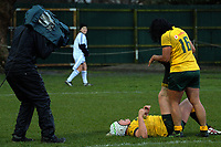 A Skysport camera operator films Victoria Latu stretching after her try during the 2017 International Women's Rugby Series rugby match between the NZ Black Ferns and Australia Wallaroos at Rugby Park in Christchurch, New Zealand on Tuesday, 13 June 2017. Photo: Dave Lintott / lintottphoto.co.nz