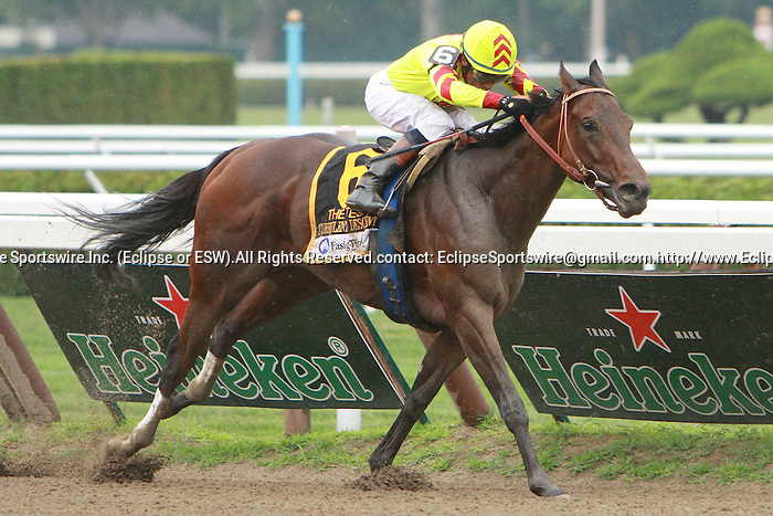 Turbulent Descent & David Flores win the Grade 1 Test Stakes at 7 Furlongs for 3 year old fillies, at Saratoga Racetrack.  Trainer Mike Puype. Owner Blinkers On Racing Stables and Aurelio Strauss