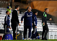 21st September 2021; Craven Cottage, Fulham, London, England; EFL Cup Football Fulham versus Leeds; Leeds United Manager Marcelo Bielsa on the touchline with alongside Fulham Manager Marco Silva