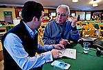 October 26, 2015 : Thoroughbred Daily News President and Co-Publisher Barry Weisbord talks with his son Bradley, American Advisor for Al Shaqab Racing, at the Breeders' Cup Trackside Marquee about who their choices would be for this week's Breeders' Cup in Lexington, Kentucky. Scott Serio/ESW/CSM