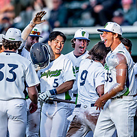 29 May 2021: Vermont Lake Monsters infielder Caleb Jung (5), from La Mirada, CA, celebrates with teammates during a game against the Norwich Sea Unicorns at Centennial Field in Burlington, Vermont. The Lake Monsters defeated the Unicorns 6-3 in their FCBL Home Opener, the first home game played at Centennial Field post-Covid-19 pandemic. Mandatory Credit: Ed Wolfstein Photo *** RAW (NEF) Image File Available ***