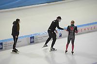 SCHAATSEN: HEERENVEEN: 13-01-2021, IJsstadion Thialf, Speed Skating training, Team Canada, Shannon Rempel, Remmelt Eldering, (National Team Staff), Ted Jan Bloemen, ©Photo Martin de Jong