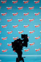 """5. Bundesparteitag der rechtspopulistischen Partei """"Alternative fuer Deutschland"""", AfD, in Stuttgart.<br /> Die Partei will auf dem Parteitag ein Parteiprogramm beschliessen.<br /> Im Bild: Eine Fernsehkamera vor der Buehne.<br /> 30.4.2016, Stuttgart<br /> Copyright: Christian-Ditsch.de<br /> [Inhaltsveraendernde Manipulation des Fotos nur nach ausdruecklicher Genehmigung des Fotografen. Vereinbarungen ueber Abtretung von Persoenlichkeitsrechten/Model Release der abgebildeten Person/Personen liegen nicht vor. NO MODEL RELEASE! Nur fuer Redaktionelle Zwecke. Don't publish without copyright Christian-Ditsch.de, Veroeffentlichung nur mit Fotografennennung, sowie gegen Honorar, MwSt. und Beleg. Konto: I N G - D i B a, IBAN DE58500105175400192269, BIC INGDDEFFXXX, Kontakt: post@christian-ditsch.de<br /> Bei der Bearbeitung der Dateiinformationen darf die Urheberkennzeichnung in den EXIF- und  IPTC-Daten nicht entfernt werden, diese sind in digitalen Medien nach §95c UrhG rechtlich geschuetzt. Der Urhebervermerk wird gemaess §13 UrhG verlangt.]"""