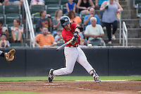 Danny Mendick (14) of the Kannapolis Intimidators at bat against the West Virginia Power at Kannapolis Intimidators Stadium on August 20, 2016 in Kannapolis, North Carolina.  The Intimidators defeated the Power 4-0.  (Brian Westerholt/Four Seam Images)