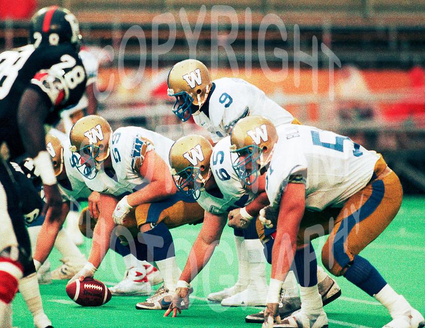 David Black, Nick Bastaja, Lyle Bauer and Roy Dewalt Winnipeg Blue Bombers 1988.Photo Scott Grant
