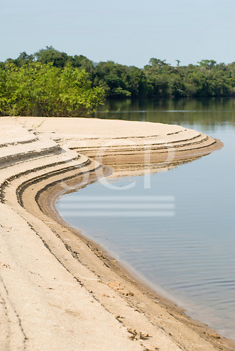 Pará State, Brazil. Xingu River; island beach. Low levels due to climate change.