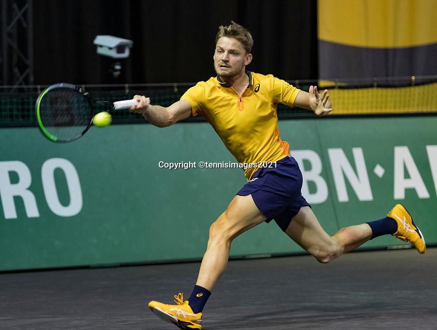 Rotterdam, The Netherlands, 3 march  2021, ABNAMRO World Tennis Tournament, Ahoy, First round match: David Goffin (BEL)  <br /> Photo: www.tennisimages.com/
