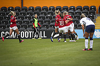 10th October 2020, The Hive, Canons Park, Harrow, England; Millie Turner  21 Manchester United celebrates her goal with teammates during for womens Super League game between Tottenham Hotspur and Manchester United