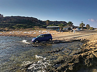 """Pictured: The Nissan Note car involved in the hit and run which killed Robert """"Charlie"""" Birch in Pafos, Cyprus. <br /> Re: A man charged with the murder of Welsh holidaymaker Robert Birch, who is known as Charlie, has appeared in court in Cyprus.<br /> 39-year-old Charlie Birch, was killed in a hit-and-run crash, on the Peyia-Ayios Georghios road in Paphos in the early hours of the morning. Another man, aged 32, was injured.<br /> Under Cypriot law, the defendant can not be identified."""