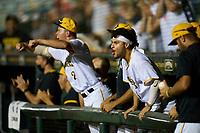 Bradenton Marauders Francisco Acuna (3) and Jase Bowen (2) celebrate during Game Two of the Low-A Southeast Championship Series against the Tampa Tarpons on September 22, 2021 at LECOM Park in Bradenton, Florida.  (Mike Janes/Four Seam Images)