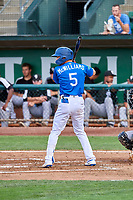 Sam McWilliams (5) of the Ogden Raptors at bat against the Grand Junction Rockies at Lindquist Field on July 23, 2019 in Ogden, Utah. The Raptors defeated the Rockies 11-4. (Stephen Smith/Four Seam Images)