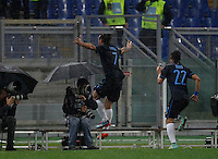 Calcio, Serie A: Roma vs Inter. Roma, stadio Olimpico, 30 novembre 2014.<br /> FC Inter's Pablo Daniel Osvaldo celebrates with teammate Dodo', right, after scoring during the Italian Serie A football match between AS Roma and FC Inter at Rome's Olympic stadium, 30 November 2014. <br /> UPDATE IMAGES PRESS/Isabella Bonotto