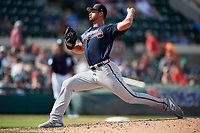 Atlanta Braves relief pitcher Kyle Muller (89) delivers a pitch during a Grapefruit League Spring Training game against the Detroit Tigers on March 2, 2019 at Publix Field at Joker Marchant Stadium in Lakeland, Florida.  Tigers defeated the Braves 7-4.  (Mike Janes/Four Seam Images)