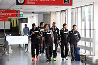 Wednesday 28 August 2013<br /> Pictured L-R: Players Jordi Amat, Michu, Pablo Hernandez, Chico Flores, Angel Rangel and Alejandro Pozuelo at Cardiff Airport.<br /> Re: Swansea City FC players and staff en route for their UEFA Europa League, play off round, 2nd leg, against Petrolul Ploiesti in Romania.