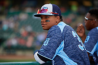 West Michigan Whitecaps right fielder Cesar Gonzalez (38) in the dugout during a game against the Fort Wayne TinCaps on May 17, 2018 at Parkview Field in Fort Wayne, Indiana.  Fort Wayne defeated West Michigan 7-3.  (Mike Janes/Four Seam Images)