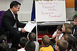 Nevada Gov. Brian Sandoval visits a first grade class at Pleasant Valley Elementary School south of Reno, Nev., on Tuesday, Feb. 7, 2012. Sandoval released his economic development plan Tuesday, including a goal of creating 50,000 jobs by 2014..Photo by Cathleen Allison
