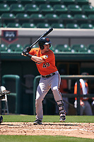 Baltimore Orioles Doran Turchin (49) bats during a Minor League Spring Training game against the Detroit Tigers on April 14, 2021 at Joker Marchant Stadium in Lakeland, Florida.  (Mike Janes/Four Seam Images)