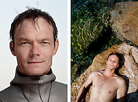 """Jesper Stechmann, freediver, poses for the photographer at the A.I.D.A. Freediving World Championships, Villefranche-sur-Mer, France, 11 September 2012. At 44 years old, Jesper is one of Denmark's top freedivers and he has set a number of national records. <br /> <br /> Before Jesper was old enough to remember, his parents were frightened to find him lying underwater in the bath and holding his breath. His career as a freediver has not, however been constant. His very first freedive was an unpleasant experience, and the fear and panic he felt came back to haunt him after a competitive dive in 2001, leading him to quit the sport altogether. Two years later, counselling and personal changes had helped him greatly, and a freediving friend he bumped into encouraged him to try the sport again. On his first dive, without any training, he achieved an immediate personal best.<br /> <br /> """"It feels like dying when you are holding your breath, after a while...You have to really want to be able to lose control.'If I let go of this life completely and go down to 100m, will it still hold? Will I make it up again?' When you are deep down in the sea, you are completely alone. You have no senses: no vision (I close my eyes), no hearing, no sense of smell, nothing. You have to search for this essence of being there; its a strange feeling."""""""