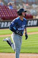 West Michigan Whitecaps first baseman Spencer Torkelson (8) runs to first base during a game against the Wisconsin Timber Rattlers on May 22, 2021 at Neuroscience Group Field at Fox Cities Stadium in Grand Chute, Wisconsin.  (Brad Krause/Four Seam Images)