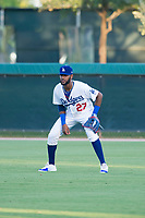 AZL Dodgers right fielder Felix Osorio (27) on defense against the AZL Brewers on July 25, 2017 at Camelback Ranch in Glendale, Arizona. AZL Dodgers defeated the AZL Brewers 8-3. (Zachary Lucy/Four Seam Images)