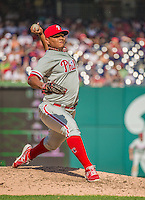 15 September 2013: Philadelphia Phillies pitcher Mauricio Robles on the mound against the Washington Nationals at Nationals Park in Washington, DC. The Nationals took the rubber match of their 3-game series 11-2 to keep Washington's wildcard hopes alive. Mandatory Credit: Ed Wolfstein Photo *** RAW (NEF) Image File Available ***