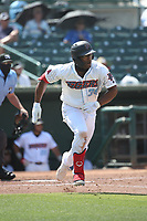 Caleb Scires (39) of the Inland Empire 66ers bats against the Fresno Grizzlies at San Manuel Stadium on May 25, 2021 in San Bernardino, California. (Larry Goren/Four Seam Images)