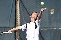SAN ANTONIO, TX - FEBRUARY 8, 2014: The Trinity University Tigers versus the University of Texas at San Antonio Roadrunners Men's Tennis at the UTSA Tennis Center. (Photo by Jeff Huehn)