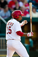 Oscar Taveras (25) of the Springfield Cardinals stands at the plate during a game against the Arkansas Travelers at Hammons Field on May 5, 2012 in Springfield, Missouri. (David Welker/Four Seam Images)