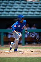 Tennessee Smokies shortstop Luis Vasquez (40) hits a single during a Southern League game against the Jacksonville Jumbo Shrimp on April 29, 2019 at Baseball Grounds of Jacksonville in Jacksonville, Florida.  Tennessee defeated Jacksonville 4-1.  (Mike Janes/Four Seam Images)