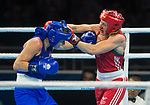 Wales Rosie Eccles v Sandy Ryan in the Woman's Women's 69kg Final Bout<br /> <br /> *This image must be credited to Ian Cook Sportingwales and can only be used in conjunction with this event only*<br /> <br /> 21st Commonwealth Games - Boxing - Day 10 - 14\04\2018 - Oxenford Studios  - Gold Coast City - Australia