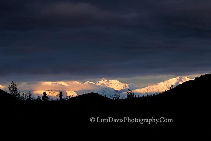 Violet clouds at sunset, Denali