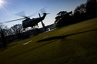 United States President Donald J. Trump departs the White House aboard Marine One in Washington, D.C., U.S., on Tuesday, Jan. 12, 2021. The President is heading to Alamo, Texas today to visit the border wall between the United States and Mexico. This is the Presidents first appearance following the insurrection at the U.S. Capitol by his followers last week. <br /> Credit: Samuel Corum / Pool via CNP /MediaPunch