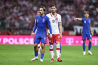 8th September 2021; PGE National Stadium, Warsaw, Poland: FIFA World Cup 2022 Football qualification, Poland versus England;  Jack Grealish and Jakub Moder