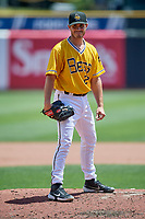 Salt Lake Bees starting pitcher Thomas Pannone (22) during the game against the Las Vegas Aviators at Smith's Ballpark on June 27, 2021 in Salt Lake City, Utah. The Aviators defeated the Bees 5-3. (Stephen Smith/Four Seam Images)