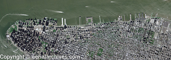aerial photo map Battery Park, the Hudson River waterfront, lower Manhattan, New York City, 2009.  For more recent imagery, please contact Aerial Archives.