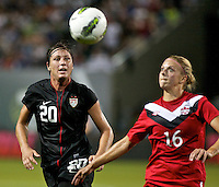 USWNT forward Abby Wambach in action. USWNT played played a friendly against Canada at JELD-WEN Field in Portland, Oregon on September 22, 2011.