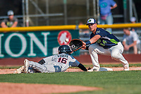 4 September 2017: Vermont Lake Monsters first baseman Aaron Arruda takes a pick-off attempt in the 7th inning during the first game of a double-header against the Tri-City ValleyCats at Centennial Field in Burlington, Vermont. The Lake Monsters split their games, falling 6-5 in the first, then winning the second 7-4, thus clinching the NY Penn League Stedler Division Championship. Mandatory Credit: Ed Wolfstein Photo *** RAW (NEF) Image File Available ***