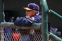San Antonio Missions manager Rick Sweet (16) looks on from the dugout during a Pacific Coast League game against the Iowa Cubs on May 2, 2019 at Principal Park in Des Moines, Iowa. Iowa defeated San Antonio 8-6. (Brad Krause/Four Seam Images)