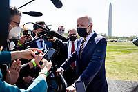 US President Joe Biden delivers brief remarks on infrastructure to members of the news media after arriving on the Ellipse by Marine One en route to the White House, in Washington, DC, USA, 05 April 2021. Biden returns to the White House following a trip to Camp David.<br /> Credit: Michael Reynolds / Pool via CNP /MediaPunch