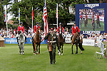 August 07, 2009: The US equestrian team are paraded before round 2 of the Nations Cup. Meydan FEI Nations Cup. Failte Ireland Horse Show. The RDS, Dublin, Ireland.