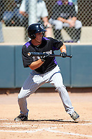 Colorado Rockies minor league infielder Matt Wessinger #3 during an instructional league game against the San Francisco Giants at the Salt River Flats Complex on October 4, 2012 in Scottsdale, Arizona.  (Mike Janes/Four Seam Images)